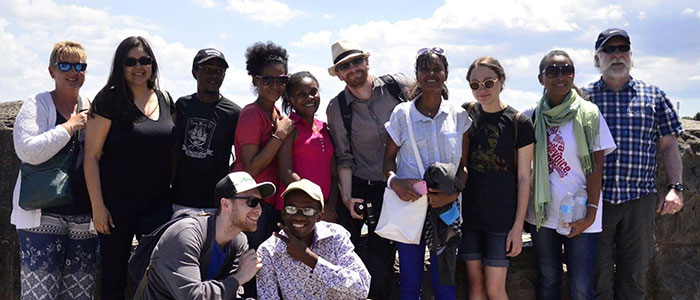 Professors Andrew Walsh, Ian Colquhoun and participants in an Anthropology field course