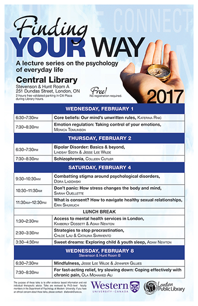 Schedule for the 2017 Finding Your Way lecture series