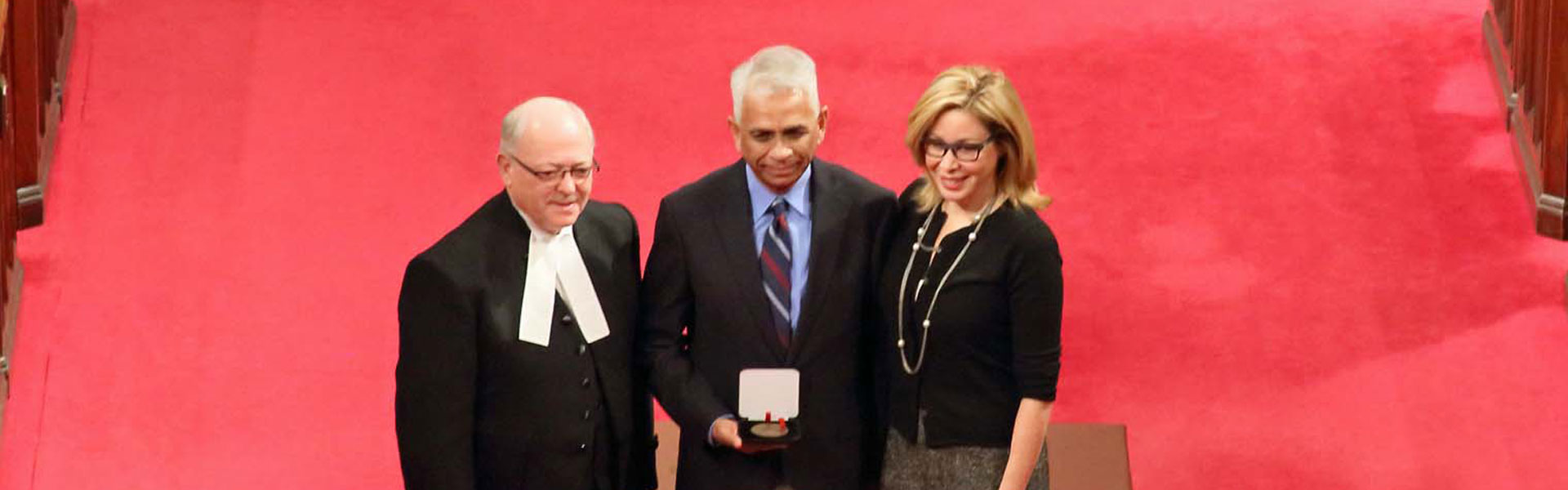 Salim Mansur, Associate Professor in the Department of Political Science, was awarded a Senate 150th Anniversary Medal for his work to promote interfaith understanding.