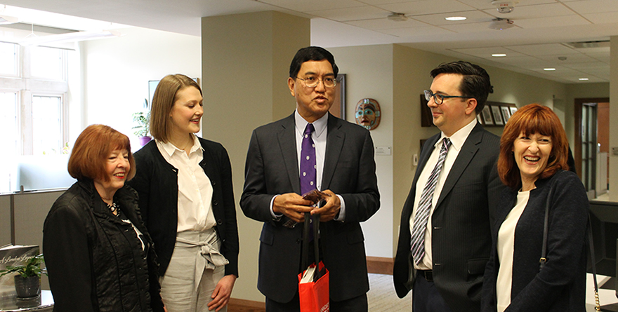 From left, Western Alumna Dororthy Hollingsworth, MA Public History student Brooke Campbell, Western University President Amit Chakma, Joel Ralph (MA'06), Director of Programs, Canada's National History Society and Janice Walker, President & CEO, Canada's National History Society.