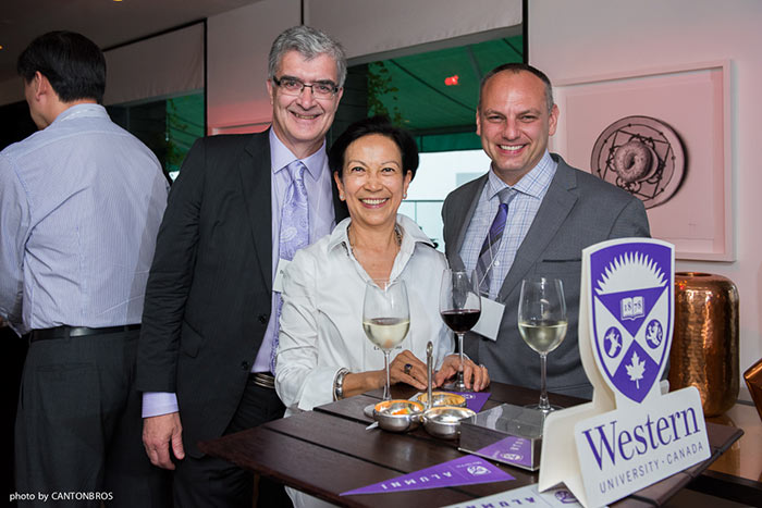 Robert Andersen, Dean of the Faculty of Social Science, Dan Shrubsole, Chair of the Department of Geography, and Cecilia Yau at the Chancellor's Reception in Hong Kong, May 28, 2016.